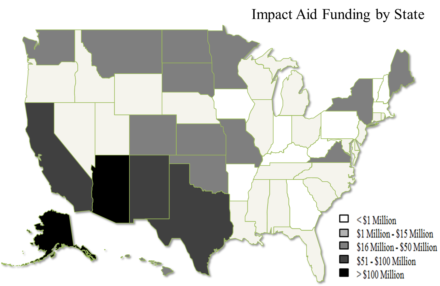 U.S. Map illustrating Impact Aid funding by state